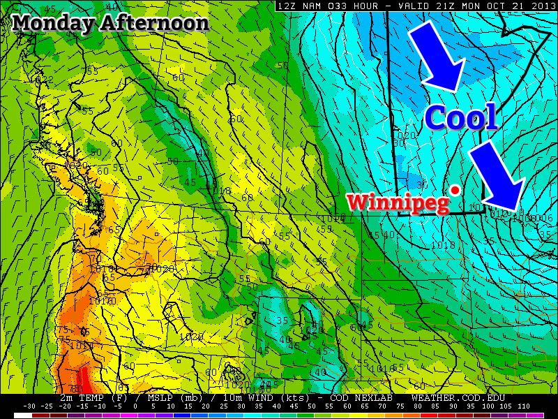 Cool temperatures are expected in Southern Manitoba on Monday