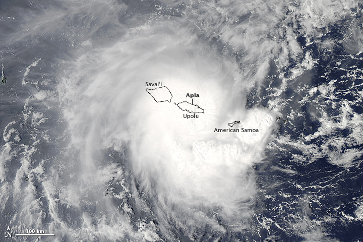 NASA's Aqua satellite captured this image of Evan as it struck Samoa
