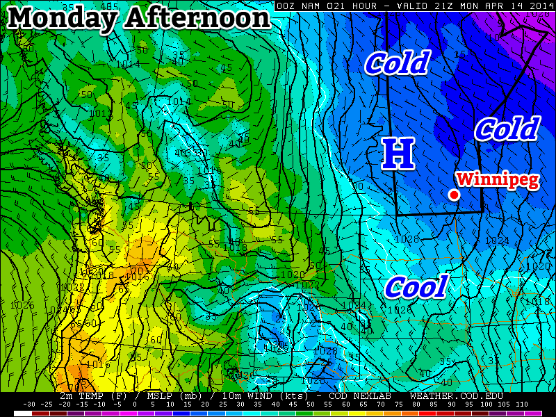 A surface ridge of high pressure will bring cold weather to southern Manitoba to start the week