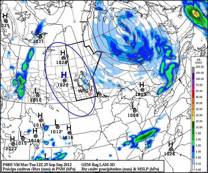 High pressure will be in place over much of Manitoba for the first part of the week