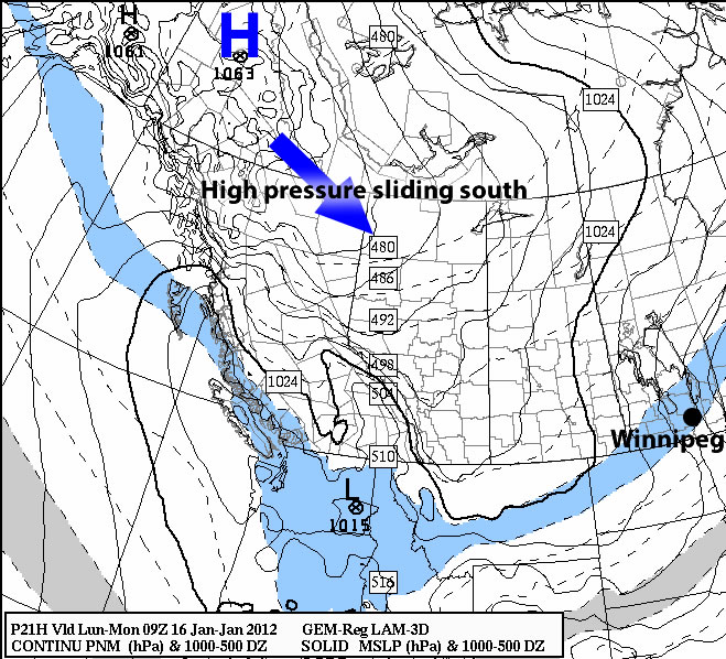Surface Pressure Map of the Prairies for Monday, Jan 16/12