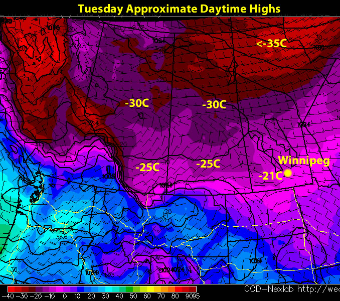 Surface Temperature Map of the Prairies for Tuesday, Jan 17/12