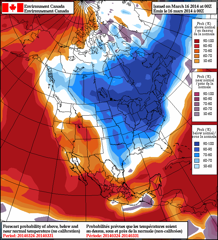 The long range forecast calls for below normal temperatures in southern Manitoba for the end of March