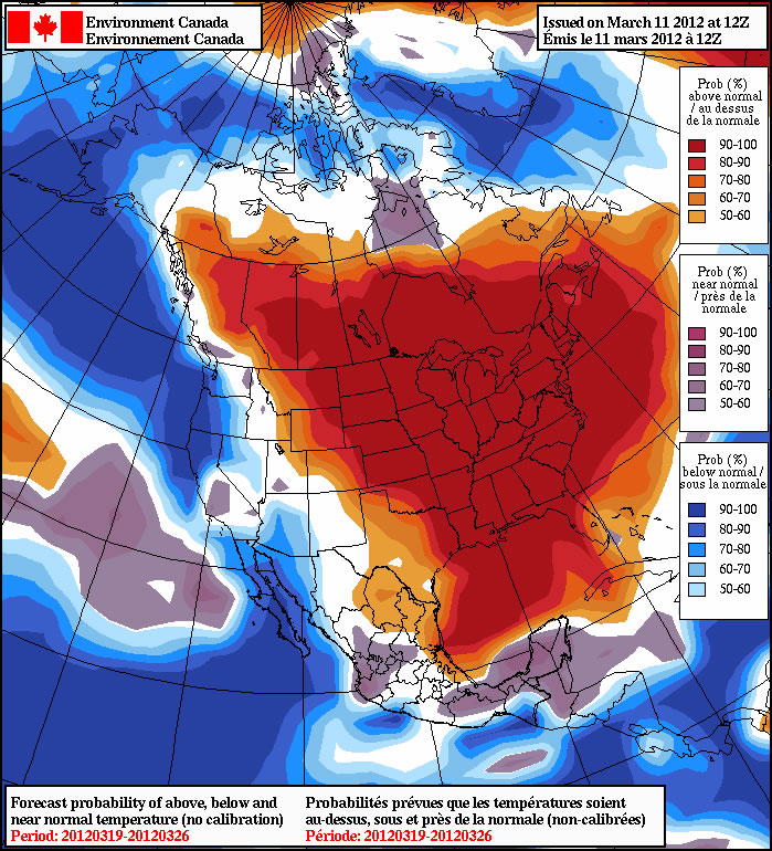 The NAEFS long-range forecast shows above-normal weather across much of North America