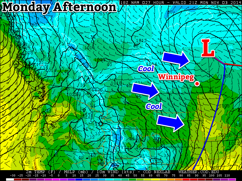 A cool westerly flow will dominate southern Manitoba on Monday