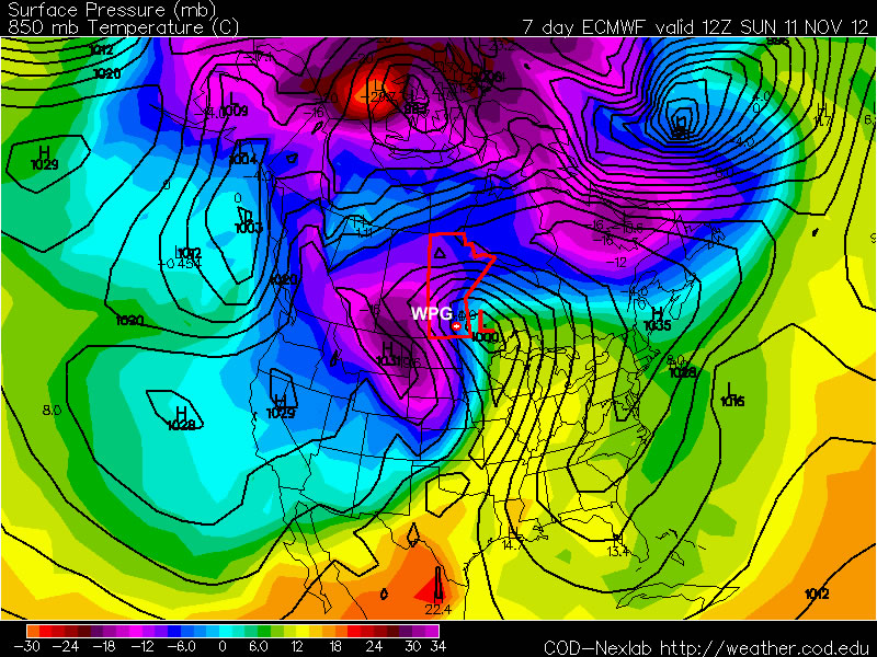 The ECMWF model is predicting that a major winter storm will impact Southern Manitoba next weekend