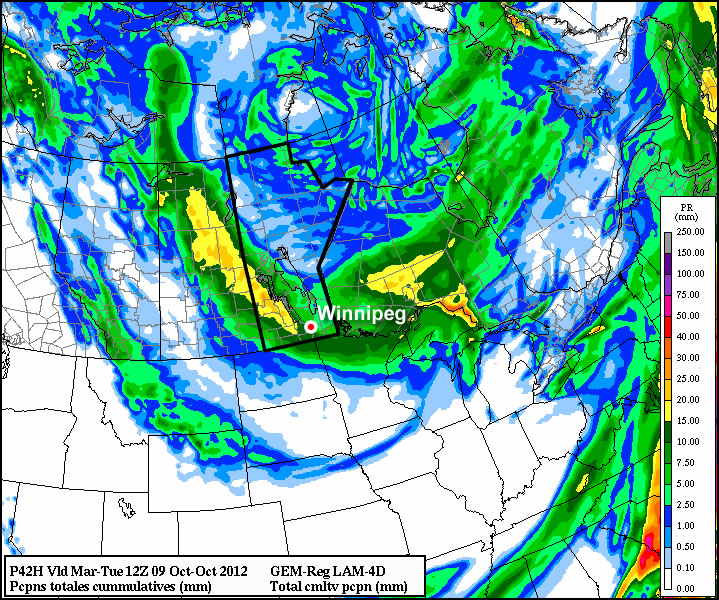 Total precipitation accumulation for Monday's system