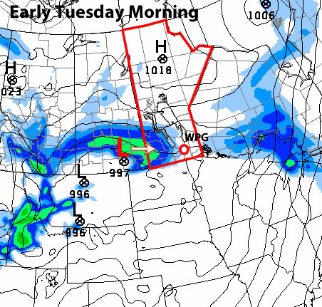 GEM Model precipitation forecast for Tuesday morning