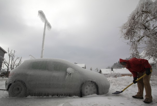A car encased in ice
