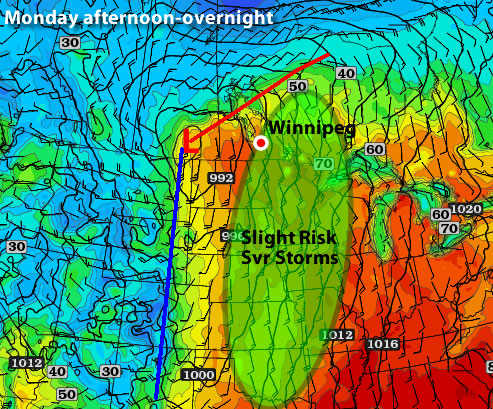 Map showing the risk of thunderstorms on Monday, March 19, 2012