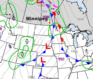 Surface map for Monday