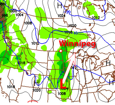 The Colorado Low (red L) at 6pm on Monday