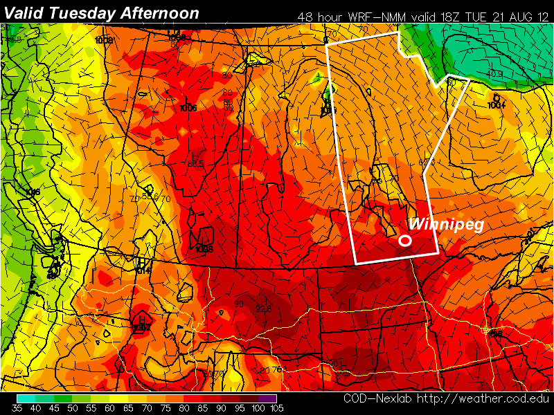 30C temperatures are expected on Tuesday in Southern Manitoba