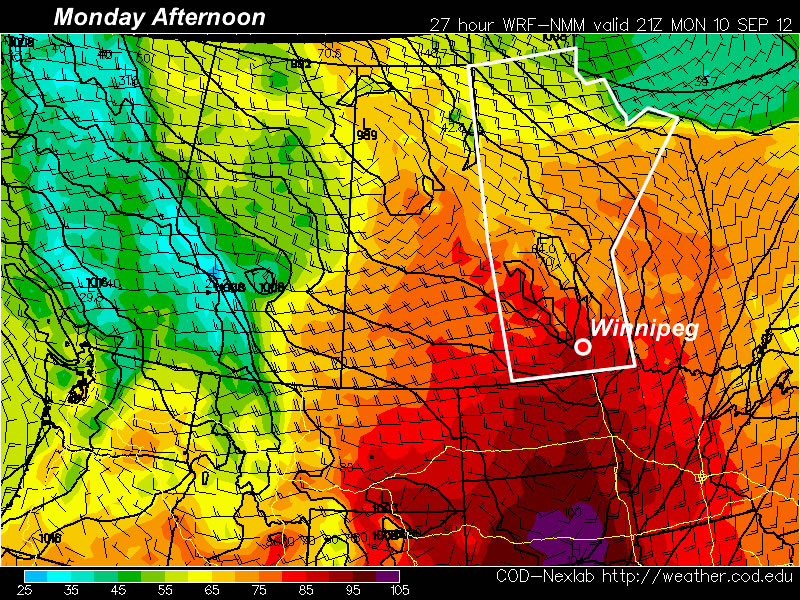 Temperatures are expected to reach the 30C mark in much of Southern Manitoba on Monday