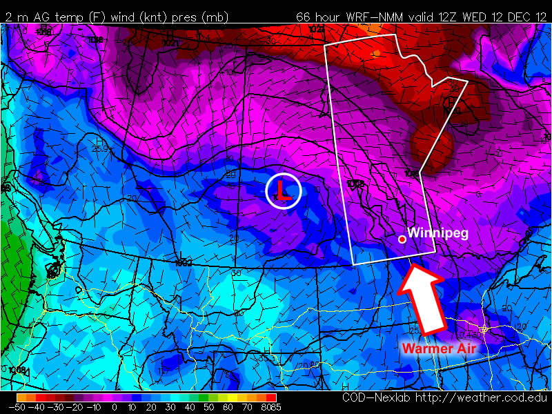 Warmer air will be advected into Southern Manitoba on Tuesday night
