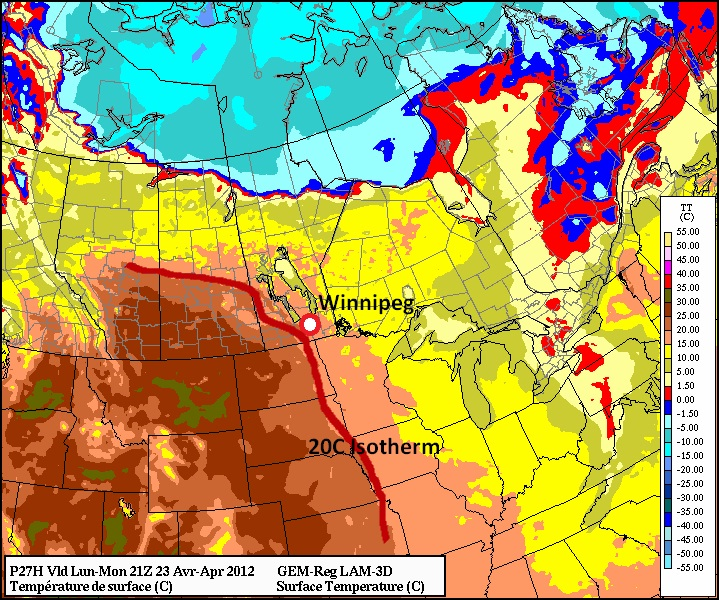 20 degree temperatures are expected in Southern Manitoba on Monday and Tuesday