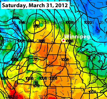 The GFS is predicting temperatures near 20C for Winnipeg next Saturday