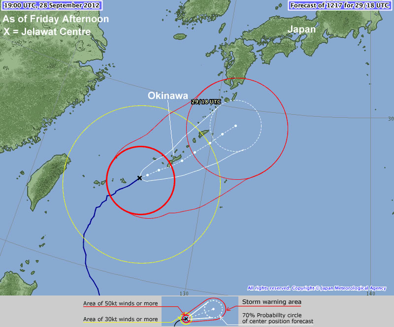 Jelawat's Forecast track by the JMA