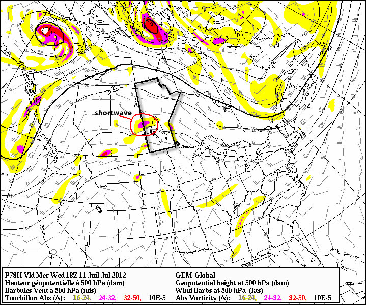 A shortwave will move toward the Eastern Prairies on Wednesday, potentially helping to trigger thunderstorms