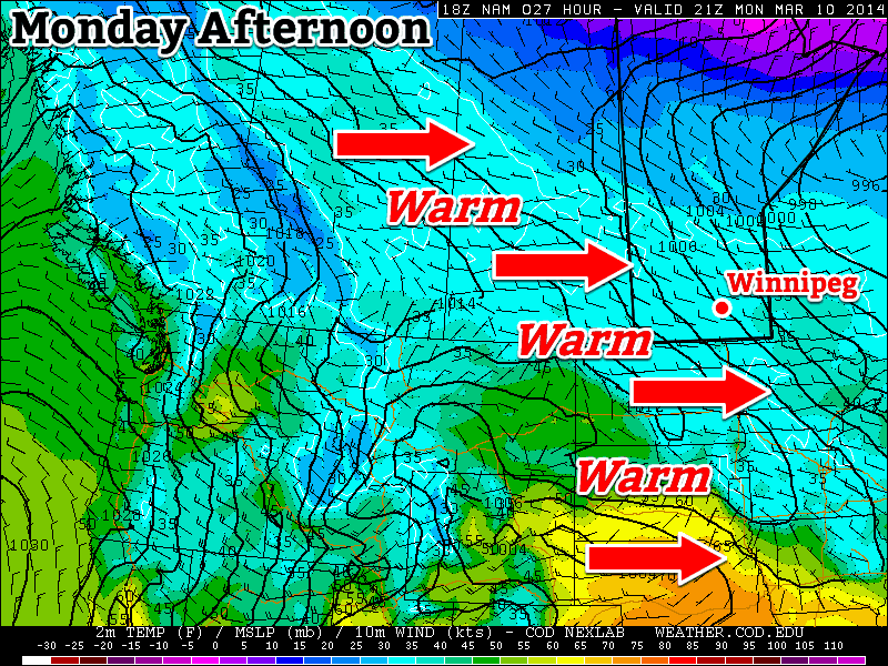 Warm air will move across the Prairies on Monday