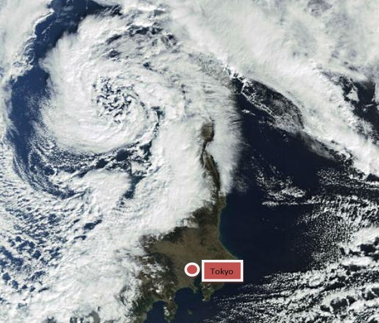 Image of the powerful low centered over the Sea of Japan (East Sea), as and after the squall line passed it produced very high winds. (Source: The Watchers/Japan Meteorological Agency)