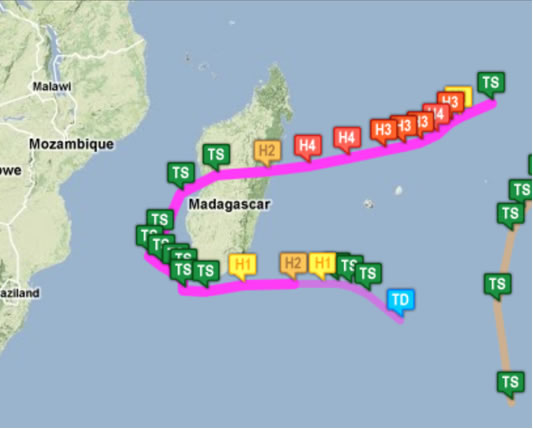 The track of Cyclone Giovanna
