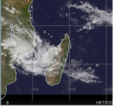 Satellite image of tropical storm Funso