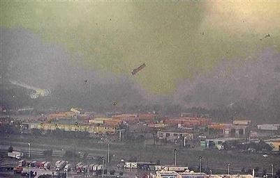 Tractor-trailer picked up by the tornado in the Dallas/Fort Worth area. (Source: Reuters/NBC)