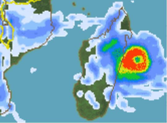 Models predicting rain rates of above 45mm/h (red) as Giovanna approaches Madagascar (Source: Sat24)