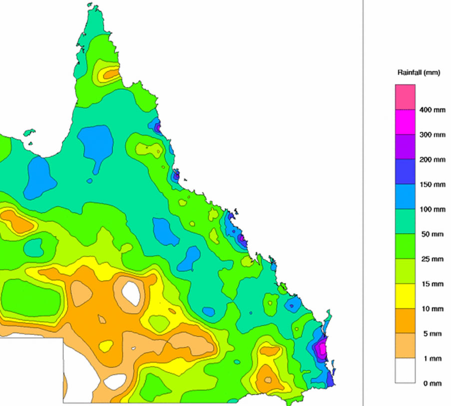 This week's rainfall totals for Queensland, some areas topping 300mm in one week! (Source: Bureau of Meterology, Australia)
