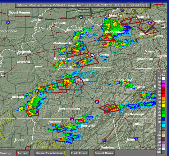 Nashville RADAR, including 11 tornado warnings, showing many supercells on the afternoon of March 2nd. (Source: NOAA-NWS)